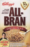 The front of the All-Bran cereal box featuring the face of William Shatner